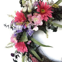 Spring Door Wreath with pink and purple silk flowers