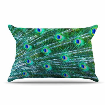 "Susan Sanders ""Teal Blue Peacock Feathers"" Photograph Pillow Case"