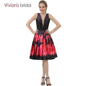 Bridal V Neck A Line Cocktail Dresses Floral Print Party Dress Sleeveless robe cocktail chic