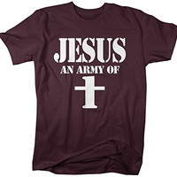 Shirts By Sarah Men's Funny Jesus T-Shirt An Army Of One Christian Shirts Cross