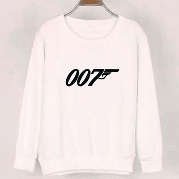 007 sweater White Sweatshirt Crewneck Men or Women for Unisex Size with variant colour