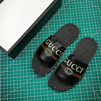 Gucci Leather Slide With Bow Black Sandals