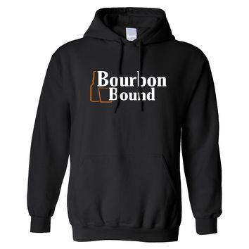 Bourbon Bound Official Logo on a Black Hoodie
