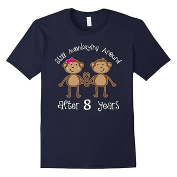 8th Anniversary T-shirt Funny Monkey Couples Photo Tee