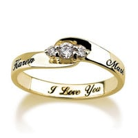 Engraved Engagement Promise Ring Gold Plated, Couples Ring ,Wedding Bands, Lovers Rings, Purity Ring