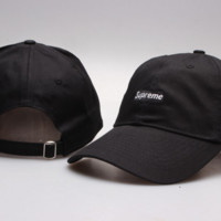 Cool Suprerme Embroidered Cotton Baseball Cap Hats - Black