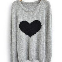 Light Grey Love Loose Heart Long Sleeve Sweaters