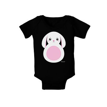 TooLoud Cute Bunny with Floppy Ears - Pink Baby Bodysuit Dark