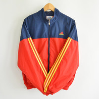 Adidas Lined Nylon Windbreaker Jacket  Zip Front Vintage 90's Size Large (medium) Red Blue with Yellow Stripes
