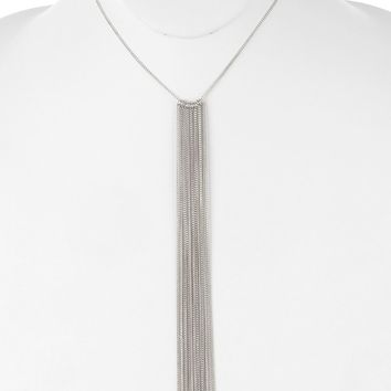 Sliver Long Chain Fringe Bib Necklace