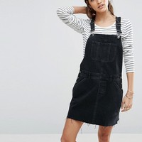 ASOS Denim Dungaree Dress in Washed Black at asos.com
