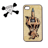 iphone 4/4s/5, Ipod touch 4/5 plastic hard case (90052) zombie Vampire Occult middle finger adult