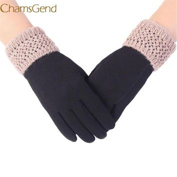 Chamsgend Newly Design Women Leisure Knit Solid Text Screen Cold Winter Keep Warm Gloves 160824 Drop Shipping