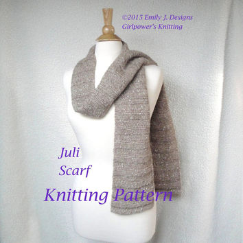 Juli Scarf Knitting Pattern, Lengthwise Ribbed Scarf, Sideways, Chunky Knit, Quick Easy