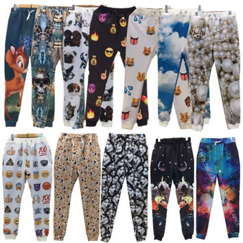 21 Styles 3D Emoji print pants funny cartoon sweatpants black & white thicken loose joggers harem trousers sportswear clothes