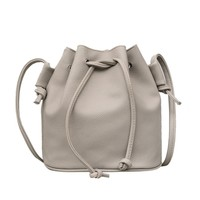 Sunyastor New Fashion Women Leather Pure Color Shoulder Bag Messenger Bag Purse Satchel Purse Bucket Bag Drawstring
