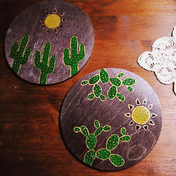 Drink Coasters Set for Two - Southwestern Decor - Wood Coasters - Boho Decor - Cactus Decor - Boho Hauseware - Gift for Couple