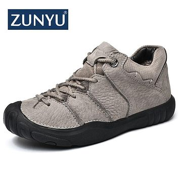 ZUNYU 2018 New Fashion Autumn Winter Men Boots High Quality Genuine Leather Ankle Snow Boots Shoes Warm Fur Plush Lace-Up Shoes