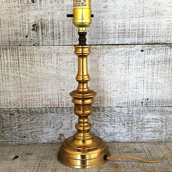 Lamp Mid Century Brass Lamp Glass Lamp Table Lamp Desk Lamp Antique Brass Light Gold Lamp Cottage Chic Lamp Hollywood Regency Lamp