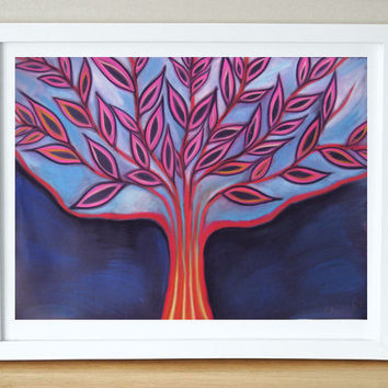 Blue Abstract  Painting - Landscape Tree - Modern Wall decor, Gorgeous PRINT, Home decoration