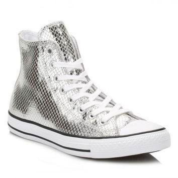 QIYIF converse silver metallic leather trainers
