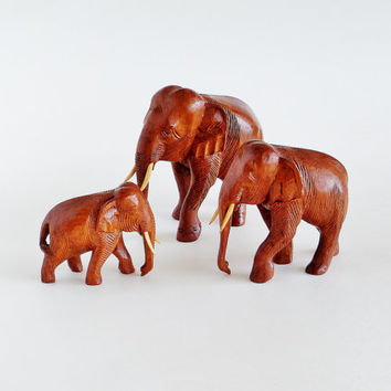 Carved Wood Elephant Family Figurines Set of 3