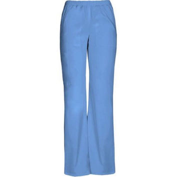 ScrubStar Women's Elastic Waist Pull On Scrub Pants, Large, Ciel Blue, 77944