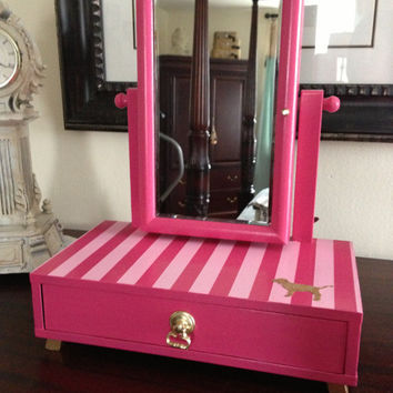 Jewelry Box vanity Mirror Upcycled Victoria's Secret Pink Inspired