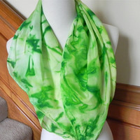 Leaf green hand dyed silk scarf, abstract green leaves, 30 inches square, ready to ship