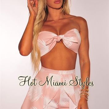 Blushed Nude White Palm Tie Up Padded Bandeau Two Piece Set