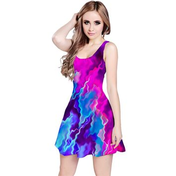 Stormy Pink Purple Teal Artwork Reversible Sleeveless Dresses