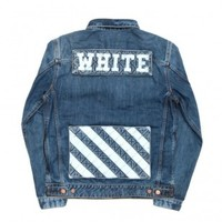 Indie Designs Off White Inspired Stripes Denim Jacket