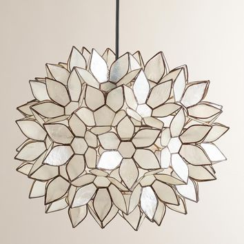Large or Small Capiz Lotus Hanging Pendant Lantern