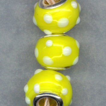 Lampwork Murano Beads Lemon YELLOW White polka Dots Silver Core Glass Lot 3