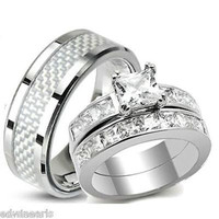 His Hers AAA Quality Cz Wedding Ring Set Stainless Steel Wedding Rings