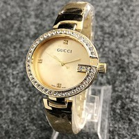 GUCCI Fashion Ladies Men Movement Watch Business Watches Rivet Diamond Wrist Watch Golden I-H-JH