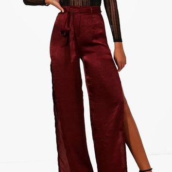 Tall Avery Satin Wide Split Leg Trouser | Boohoo