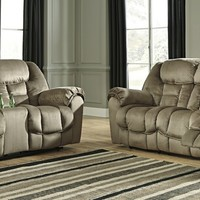 2 pc Jodoca collection driftwood fabric upholstered power motion sofa and love seat set with recliners on the ends