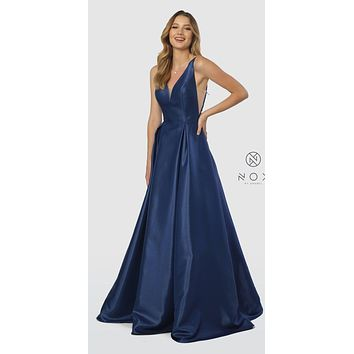 V-Neck and Back Navy Blue Long Prom Dress with Pockets