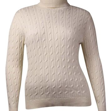 Charter Club Women's Ribbed Cable Turtleneck Sweater