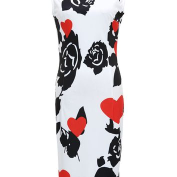 Streetstyle  Casual Round Neck Slit Floral Heart Printed Bodycon Dress