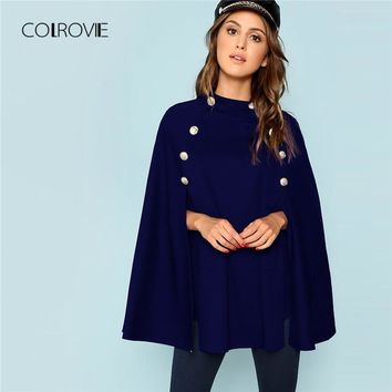 COLROVIE Navy Casual Double Button Mock Poncho Coat Women Stand Collar Cape Outwear New Elegant Coat Clothes
