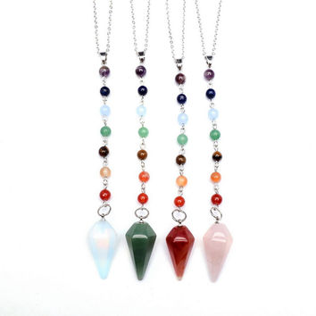 Arrow Shape Natural Birthstone Chakra Long Necklace