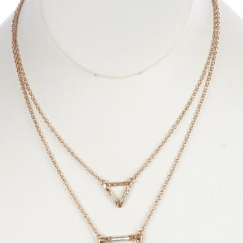 Sliver Hammered Metal Triangle Double Layer Necklace