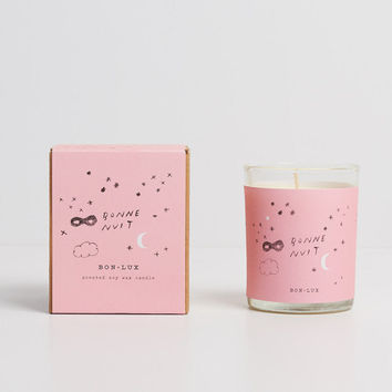 soy wax candle 'bonne nuit' - glass votive + illustrated gift box, romantic gift, violet, peppercorns + oakmoss by BON LUX