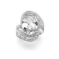 Vintage Glamour Art Deco Cocktail Ring with 10 ct. Oval Cubic Zirconia Bling 4029R