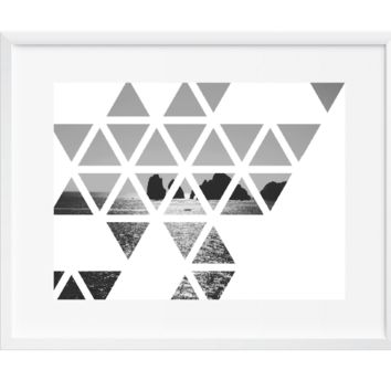Triangles Vast Ocean Wall Art, Art Print, Black and White, Contemporary, 12x16