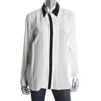 Marc by Marc Jacobs Womens Silk Contrast Trim Button-Down Top