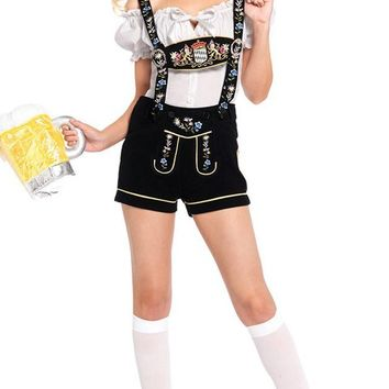 Oktoberfest Hottie Black White Velvet Floral Pattern Short Sleeve Off The Shoulder Crop Top Suspender Short Two Piece Romper Halloween Costume