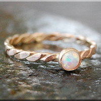 Tiny Gold Opal Stacking Ring, Simple Stacking Ring, Dainty 14k gold Ring, Stackable 14k Gold Twisted Ring, Gold Opal Stacking ring